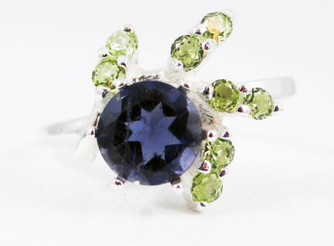 Iolite and Peridot Spiral Accented Ring Sterling Silver, Water Sapphire Ring, Sterling Iolite Ring, August Birthstone Ring, Multi Stone Halo