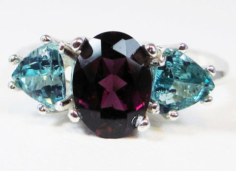Apatite and Rhodolite Garnet Ring Sterling Silver 3 Stone Ring