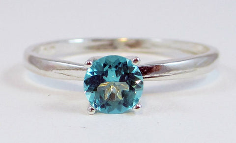 Sterling Apatite Solitaire Ring, Natural Apatite Ring, Sterling Silver Apatite Ring, Sterling Solitaire Ring, 925 Ring, Blue-Green Apatite