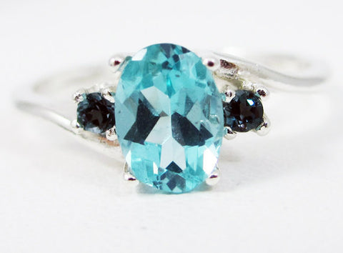 Apatite Oval and London Blue Topaz Ring Sterling Silver, Oval Accent Ring, Blue Topaz Ring, 925 Three Stone Ring, Blue Green Apatite Ring
