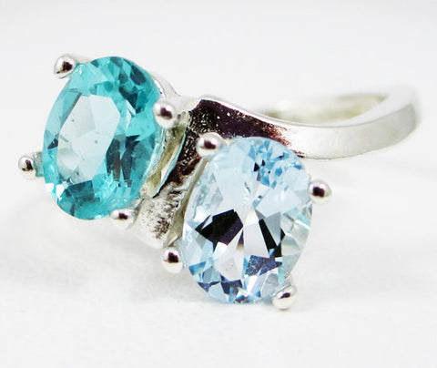 Apatite and Aquamarine Double Oval Ring Sterling Silver