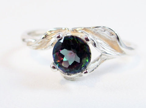 Mystic Topaz Leaf Ring Sterling Silver, Rainbow Topaz Ring, Sterling Silver Leaf Ring, 925 Topaz Ring, Mystic Topaz Ring, Topaz Leaf Ring