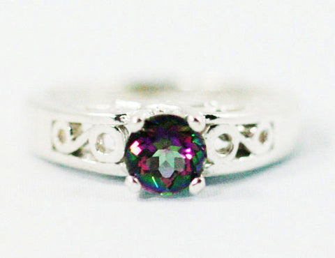 Mystic Topaz Filigree Ring Sterling Silver, Rainbow Topaz Filigree Ring, Sterling Silver Ring, Mystic Topaz Solitaire ring,, 925 Topaz Ring
