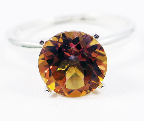 Large Azotic Topaz Solitaire Ring Sterling Silver, Yellow Topaz Ring, Rainbow Topaz Ring, Sterling Ring