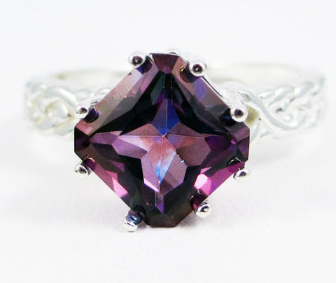 Purple Topaz Braided Ring Sterling Silver, Mystic Topaz Ring, Rainbow Topaz Ring, Sterling Topaz Ring, Princess Cut Ring, Square Ring