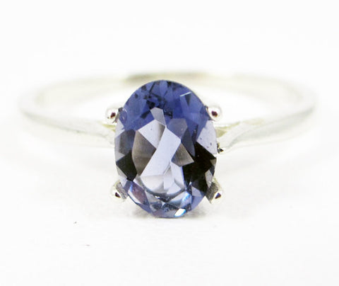 Iolite Oval Solitaire Ring Sterling Silver, Water Sapphire Ring, Sterling Iolite Ring, Sterling Silver Oval Ring, 925 Sterling Silver Ring