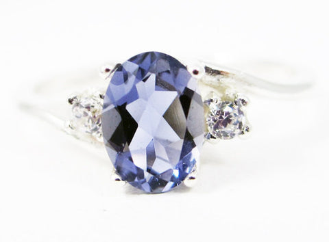 Iolite Oval and White CZ Accent Ring Sterling Silver, Water Sapphire Ring, Sterling Iolite Ring, Oval Accent Ring, 925 Iolite Oval Ring