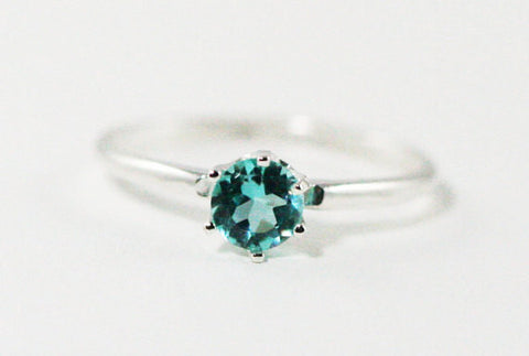 Sterling Silver Apatite Solitaire Ring, Natural Apatite Ring, 925 Apatite Solitaire Ring, Green Apatite Ring, Blue-Green Apatite Ring