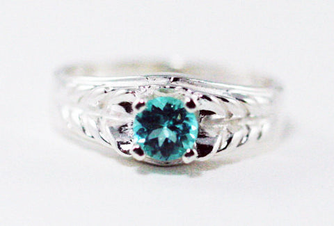 Engraved Apatite Ring Sterling Silver, Blue Green Apatite Ring, 925 Apatite Solitaire Ring, Sterling Silver Ring, 925 Sterling Ring