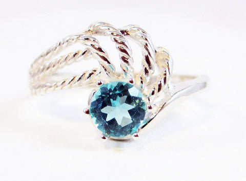 Apatite Twisted Swirl Ring Sterling Silver, Blue Green Apatite Ring, 925 Apatite Ring, 925 Ring, 925 Sterling Silver Ring