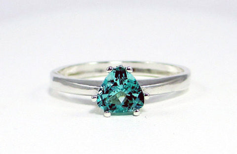 Apatite Trillion Ring Sterling Silver, Blue Green Apatite Ring, Trillion Solitaire Ring, Apatite Trillion, 925 Sterling Silver Ring