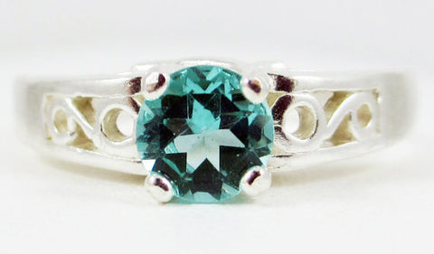 Apatite Swirled Filigree Ring Sterling Silver, Sterling Silver Solitaire Ring, Green Apatite Ring, 925 Filigree Ring, 925 Sterling Silver