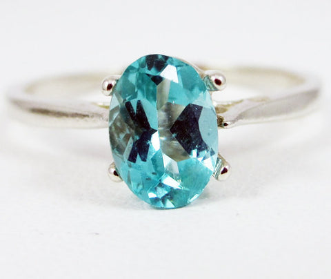 Apatite Oval Solitaire Ring Sterling Silver, Natural Apatite Ring, Sterling Silver Oval Ring, 925 Ring, 925 Sterling Silver Ring