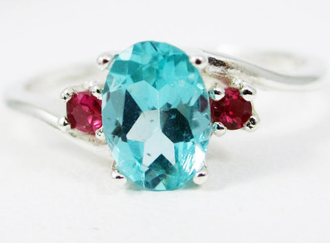 Apatite Oval and Ruby Accent Ring Sterling Silver, July Birthstone Ring, Ruby Accent Ring, 925 Sterling Silver Ring, Blue Green Apatite Ring