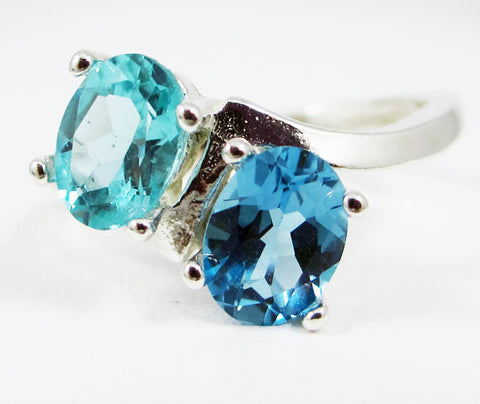 Apatite and London Blue Topaz Double Oval Ring Sterling Silver