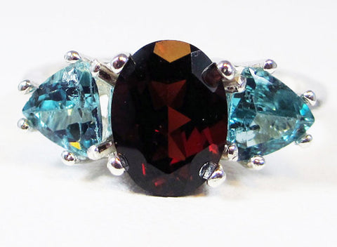 Apatite and Mozambique Garnet Ring Sterling Silver