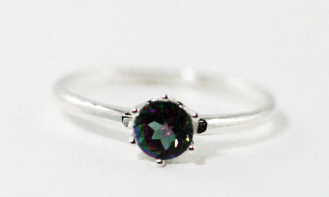 Mystic Topaz Solitaire Ring Sterling Silver .925, Rainbow Topaz Solitaire Ring, Sterling Topaz Ring, Topaz Solitaire
