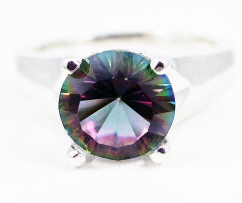 Mystic Topaz Solitaire Ring Sterling Silver, Large Rainbow Topaz Solitaire Ring, Colored Topaz Ring