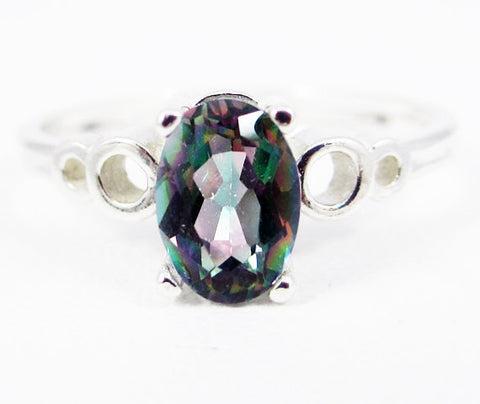 Mystic Topaz Oval Bubble Ring Sterling Silver, Rainbow Topaz Ring, Oval Topaz Ring
