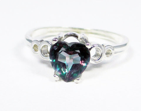 Mystic Topaz Heart Bubble Ring Sterling Silver, Rainbow Topaz Heart Ring, Sterling Silver Heart Ring, Colored Topaz Ring