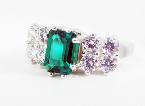 Emerald and CZ Accented Sterling Silver Ring Emerald Cut, May Birthstone Ring, Sterling Silver Ring