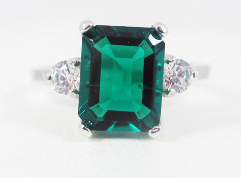 Emerald and White CZ Emerald Cut Ring Sterling Silver, May Birthstone Ring, Radiant Cut Emerald Ring, 925 Sterling Silver Ring