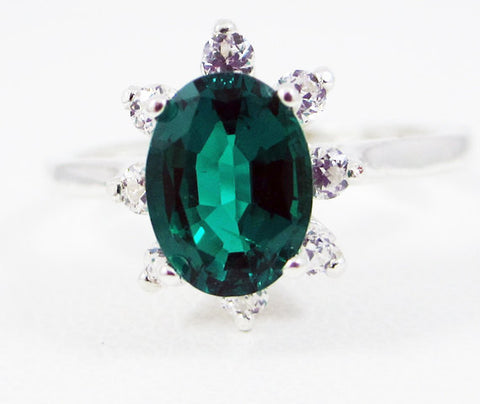 Emerald Oval Halo Ring Sterling Silver, May Birthstone Ring, Sterling Silver Halo Ring, Emerald Halo Ring