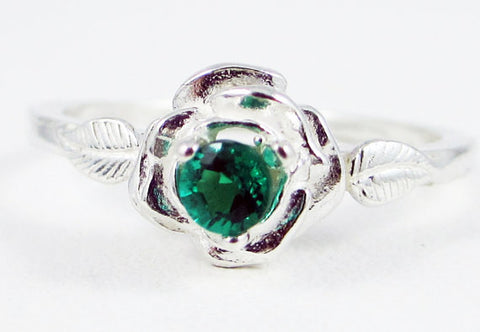 Emerald Rose Ring Sterling Silver, May Birthstone Ring, Sterling Silver Rose Ring, 925 Sterling Emerald Ring, Small Emerald Ring