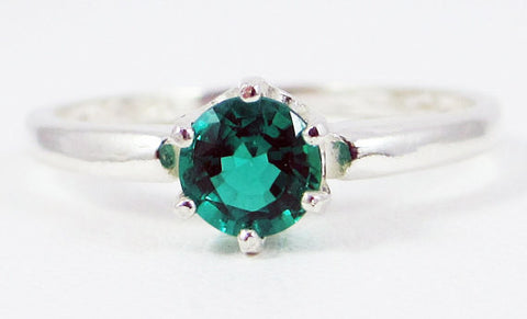 Emerald Solitaire Ring Sterling Silver, May Birthstone Ring, Sterling Silver Solitaire Ring, 925 Sterling Silver Ring, Emerald Solitaire