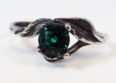 925 Oxidized Emerald Leaf Ring Sterling Silver, May Birthstone Ring, Oxidized Sterling Silver Ring, Oxidized Leaf Ring, Emerald Leaf Ring