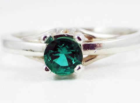 Sterling Silver Emerald Solitaire Ring, May Birthstone Ring, 925 Sterling Silver Ring, Lab Emerald Ring, Solitaire Ring