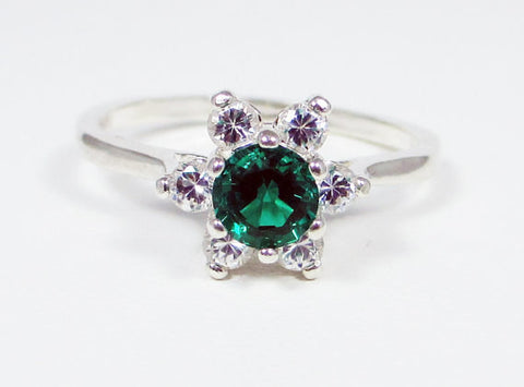 Emerald Halo Ring Sterling Silver, May Birthstone Ring, 925 Sterling Silver Ring, Sterling Halo Ring, Sterling Emerald Ring