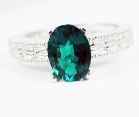 Emerald Oval Engraved Ring Sterling Silver, May Birthstone Ring, Emerald Filigree Ring, 925 Sterling Silver Ring