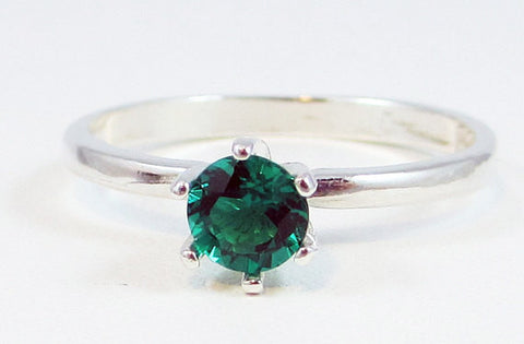 Sterling Emerald Solitaire Ring, May Birthstone Ring, Sterling Silver Solitaire Ring, Emerald Solitaire Ring, Lab Emerald Ring, 925 Ring
