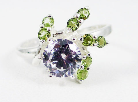 White CZ and Peridot Spiral Accented Ring Sterling Silver, Peridot Gemstone Ring, Multi Stone Ring, Peridot Spiral Ring