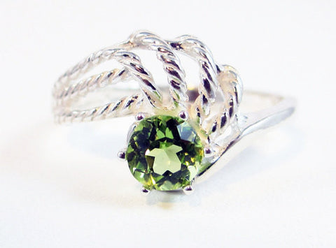 Peridot Twisted Swirl Ring Sterling Silver, August Birthstone Ring, Sterling Twisted Rope Ring, Peridot Gemstone Ring, Sterling Solitaire