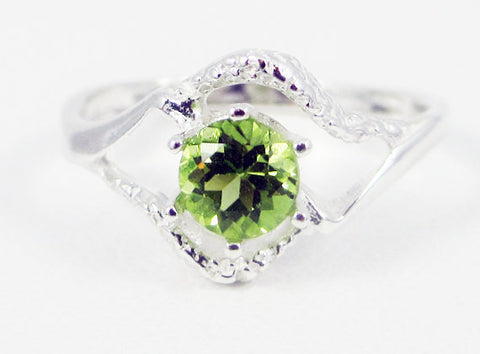 Peridot Textured Ring Sterling Silver, August Birthstone Ring, Sterling Silver Ring, Peridot Solitaire Ring, 925 Sterling Silver Ring