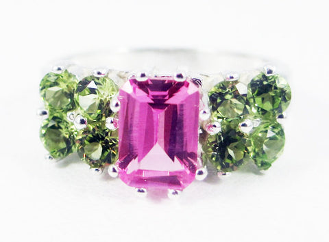 Pink Sapphire and Peridot Sterling Silver Ring Emerald Cut, August Birthstone Ring, Emerald Cut Pink Sapphire Ring, Multi Stone Ring