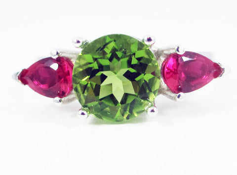 Peridot and Ruby Pear Accents Ring Sterling Silver, August Birthstone Ring, July Birthstone Ring, Ruby Pear Ring