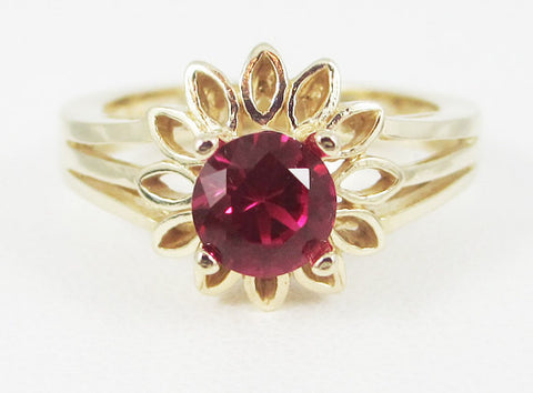 Ruby 14k Yellow Gold Sunflower Ring, Solid 14k Yellow Gold Ring, 14 Karat Gold Ring, July Birthstone Ring, Ruby Sunflower Ring, Ruby Ring