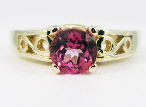 Pink Topaz 14k Yellow Gold Round Filigree Ring, Solid 14k Yellow Gold Ring, 14 Karat Gold Ring, Pink Topaz Solitaire Ring, Engagement Ring