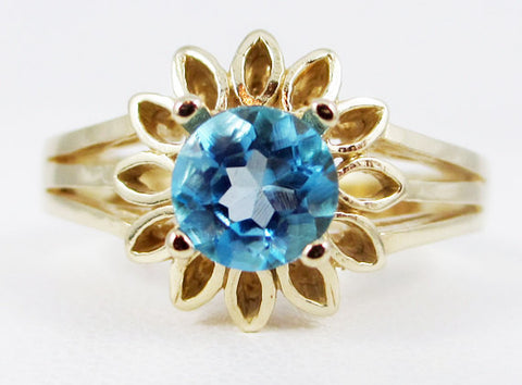 Swiss Blue Topaz 14k Yellow Gold Sunflower Ring, December Birthstone Ring, 14k Blue Topaz Ring, Gold Sunflower Ring, 14k Yellow Gold Ring