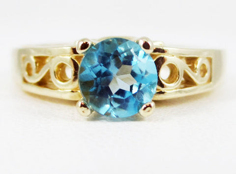 Swiss Blue Topaz 14k Yellow Gold Round Filigree Ring, 14 Karat Gold Ring, December Birthstone Ring, Solitaire Ring, 14k Blue Topaz Ring