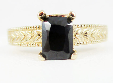 Black CZ Detailed 14k Yellow Gold Emerald Cut Ring, 14 Karat Yellow Gold Ring, Solid Yellow Gold Ring, Emerald Cut Black CZ Ring