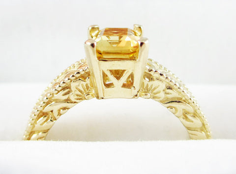 citrine detailed 14k yellow gold emerald cut ring solid 14 karat gold ring emerald