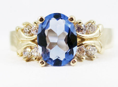 Tanzanite 14k Yellow Gold CZ Accents Oval Ring, Solid 14 Karat Gold Ring, December Birthstone Ring, 14k Gold Tanzanite Ring, Multi Stone