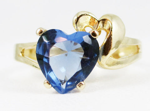 Tanzanite and Gold Heart Ring 14k Yellow Gold, Solid 14k Yellow Gold Ring, 14 Karat Gold Ring, 14k Gold Heart Ring, Tanzanite Heart