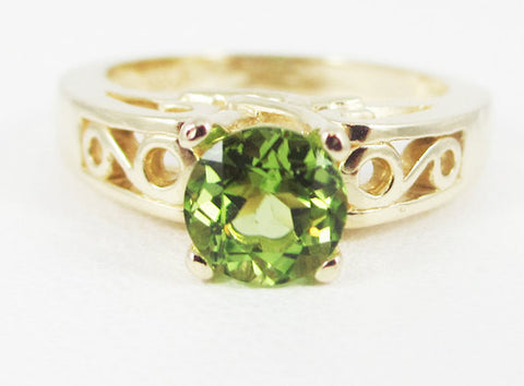 Peridot 14k Yellow Gold Round Filigree Ring, Solid 14k Yellow Gold Ring, 14 Karat Gold Ring, August Birthstone Ring, Peridot Solitaire Ring