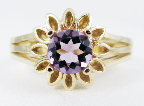 Lavender Amethyst 14k Yellow Gold Sunflower Ring, February Birthstone Ring, Gold Amethyst Ring, 14k Yellow Gold Sunflower Ring