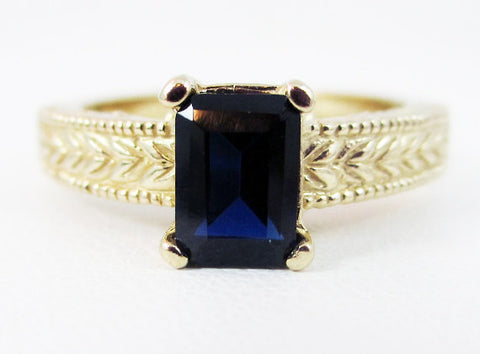 Blue Sapphire Detailed 14k Yellow Gold Emerald Cut Ring, Blue Sapphire Ring, Emerald Cut Blue Sapphire Ring, September Birthstone Ring
